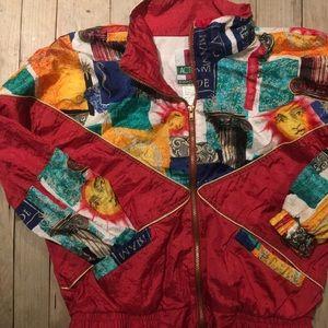 Vintage 90s Greece Windbreaker Zip Up Jacker